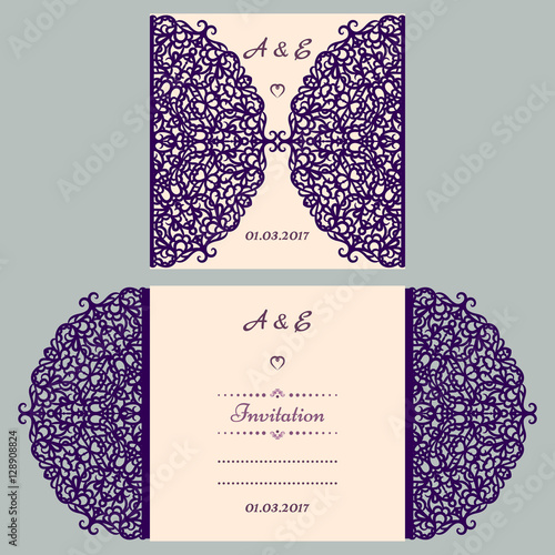 Die cut wedding invitation card template paper cut out card with die cut wedding invitation card template paper cut out card with lace beautiful laser stopboris Image collections