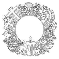 Christmas round frame in doodle style