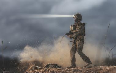 Soldier walking on the battlefield. It´s a doll