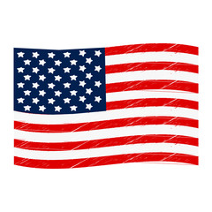 Grunge Style American Flag, Isolated On White Background. Vector