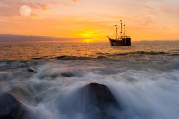 Ocean Sunset Ship