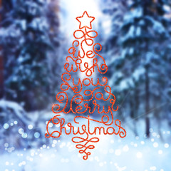 Holiday gift card with hand lettering We wish You a Merry Christmas in the form of a Christmas tree on blurred photo background. Vector illustration for your design