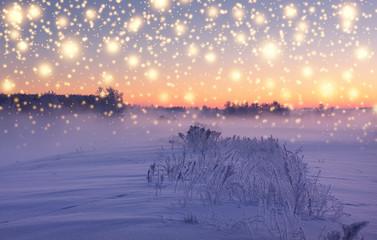 Christmas snowfall illuminated by rising sun. Snowy winter morning.