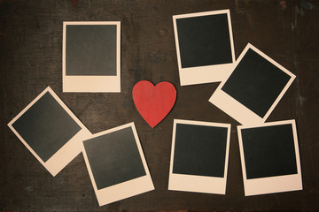 Retro Vintage empty Photo frames and red heart