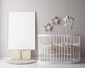 mock up poster frame in children room, scandinavian style interio
