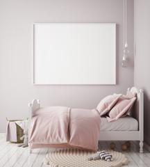 mock up poster frame in baby girl room, scandinavian style interior background, 3D render, 3D illustration