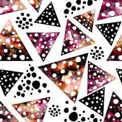 Watercolor Little Triangles with Dots Seamless Pattern