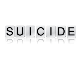Suicide Isolated Tiled Letters Concept and Theme