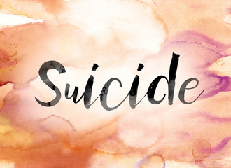 Suicide Colorful Watercolor and Ink Word Art
