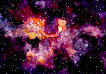 Background with Watercolor Galaxy and Dark Sky