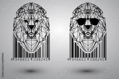 Head of lion from triangles, lines and dots with barcode