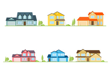 Neighborhood with homes illustrated on white.