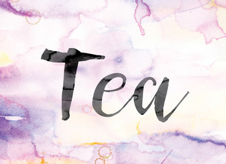 Tea Colorful Watercolor and Ink Word Art