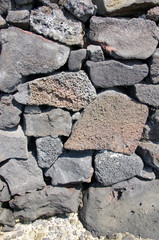 Detail, dry built lava stone wall