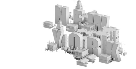 3d render of a mini city, typography 3d of the name new york