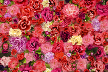 bright background of flowers of roses