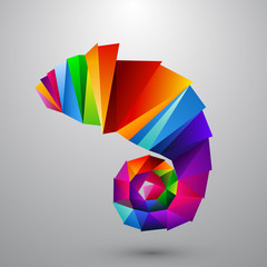 Chameleon from color triangles. Logo