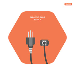 Electric dark gray plug type B vector isolated icon with shadow on the hexagon red background.