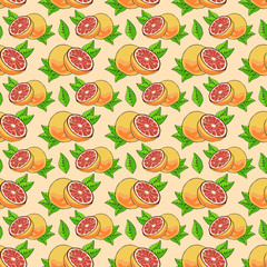 Seamless Pattern with grapefruits.