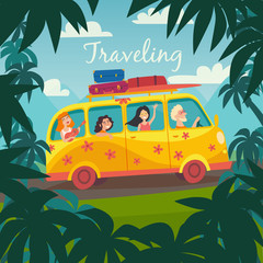 Summer trip vector illustration. Surfing bus on palm beach. Happy people on summer holidays. Microbus with surfers. Palm background on road trip. Tourism concept, cartoon character hippie