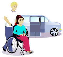 girl with disabilities in a wheelchair and boy, car with a ramp on background