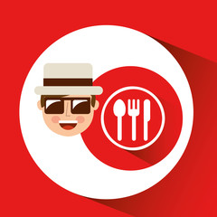 tourist man with camera and dinner sign vector illustration eps 10