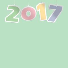 2017 colorato con colori pastello su sfondo verde pastello
