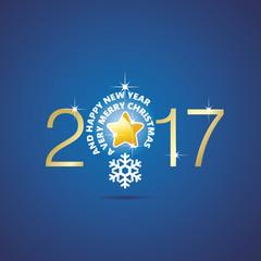 New Year 2017 Christmas idea bulb ball star blue vector