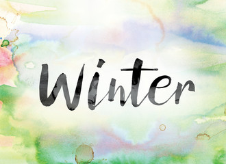 Winter Colorful Watercolor and Ink Word Art