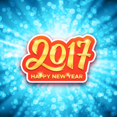 Happy New Year 2017 gold calligraphic text on blue glowing background with bokeh and rays. Greeting card design with typography for winter holidays. Vector illustration