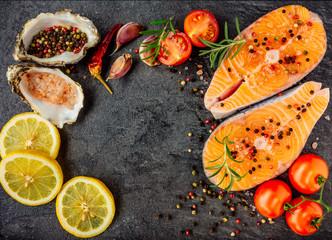 Delicious salmon steak top view