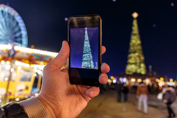 Taking photo of Christmas fair in Hyde park in 2016