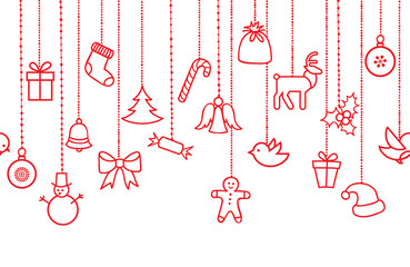 Different hanging Christmas ornaments: Christmas bauble, santa hat, sweet, snowman, elk, angel. Seamless pattern