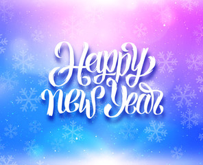 Happy New Year greeting card with magic light and snowflakes on colorful blue-purple background. Vector design with lettering for winter holidays