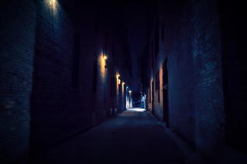 Fototapete - Dark Urban City Alley at Night