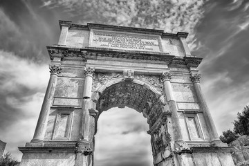 The iconic Arch of Titus in the Roman Forum, Rome