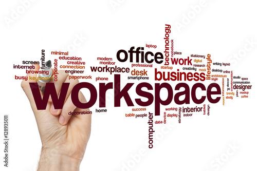 workspace word cloud concept stockfotos und lizenzfreie bilder auf bild 128935011. Black Bedroom Furniture Sets. Home Design Ideas