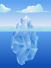 Iceberg on the blue ocean vector image