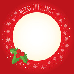 "Vector holiday background. Red frame with holly berry, a border made of snowflakes, and greeting ""Merry Christmas"" written with a hand-drawn font. Free place for text on a cream background."