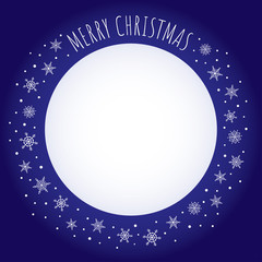 "Vector holiday background. Dark blue frame with snowflakes and greeting ""Merry Christmas"" written with a hand-drawn font. Free place for text on white background."