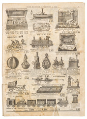 Vintage victorian toys collection Antique advertising Old engrav