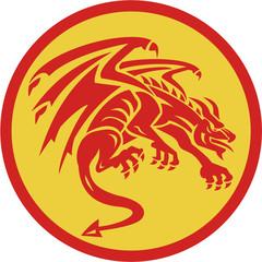 Dragon Gargoyle Crouching Circle Retro