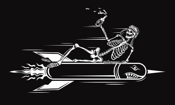 Vector illustration of skull of kamikaze in helmet, holding a bottle of beer and flying skull on rocket