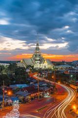 Twilight, Wat Sothon Wararam Worawihan, Chachoengsao province, Thailand.