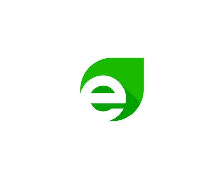 Letter Initial E Leaf Logo Design Template