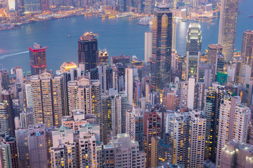 Aerial view Hong Kong central business district over Victoria Bay at night