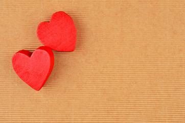 Heart on cardboard background