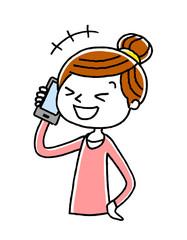 電話:女性、主婦、笑う