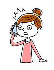 電話:女性、主婦、驚く、不安
