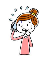 電話:女性、不安、恐がる